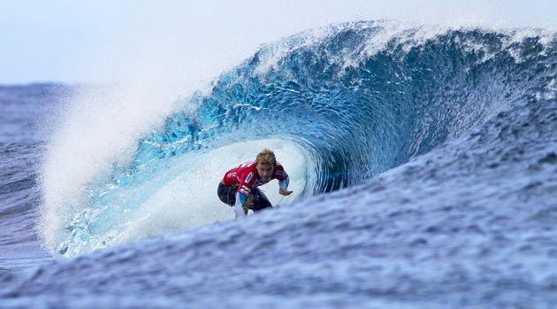 Ace Buchan Surfs Tahiti