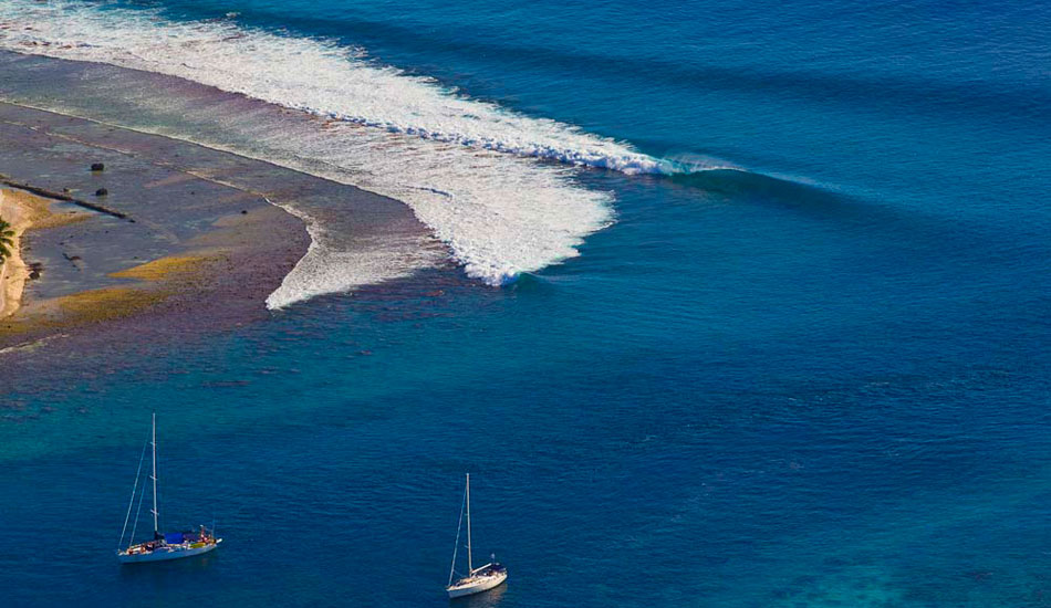 """Aerial view of a pass in French Polynesia. This is an example of a good set up. Shot from my motorized paraglider. Photo: <a href=\""""http://benthouard.com/\"""" target=_blank>Ben Thouard</a>."""