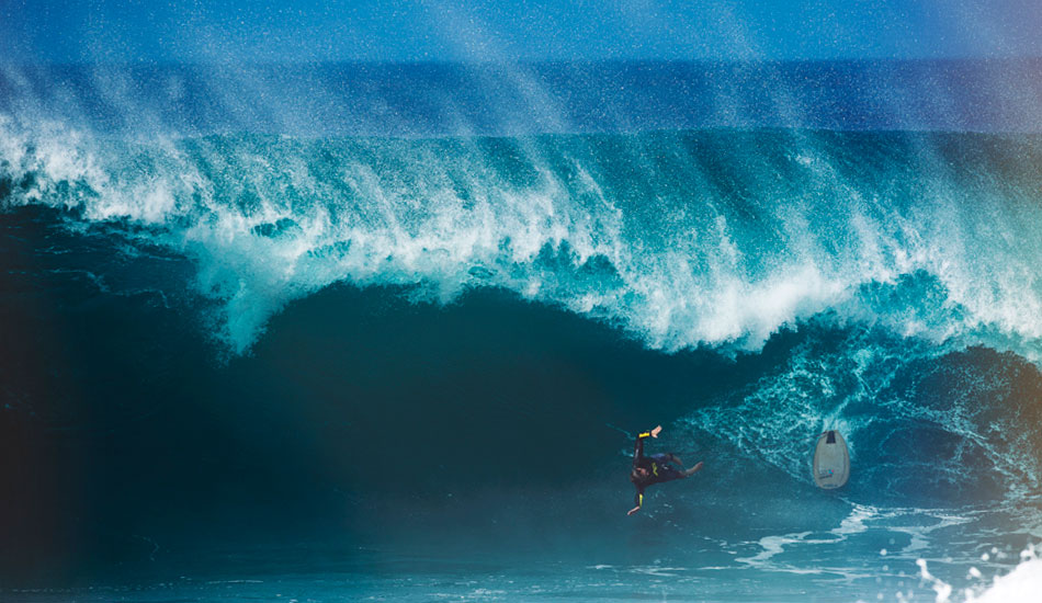 """Outrageous. Nathan Fletcher about to take a hell of a ride. Pipeline, December 2011. Photo: <a href=\""""http://www.dylangordon.com/\"""" target=_blank>Dylan Gordon</a>"""