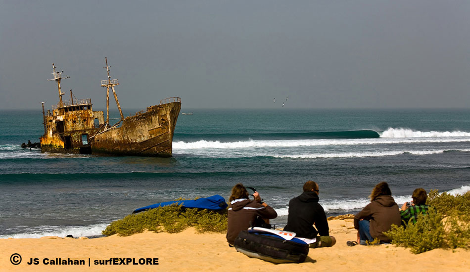 Mauritania. The area around the Nouadhibou Peninsula is known as the shipwreck capital of the world as it is littered with hundreds of rusting wrecks, which were driven ashore as part of insurance scams. This hulk sits in the middle of a great right point. Photo: John Seaton Callahan/surfEXPLORE