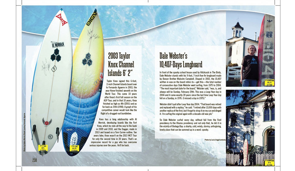 Two different beasts: Taylor Knox\'s Merricks and Dale Webster\'s longboard.