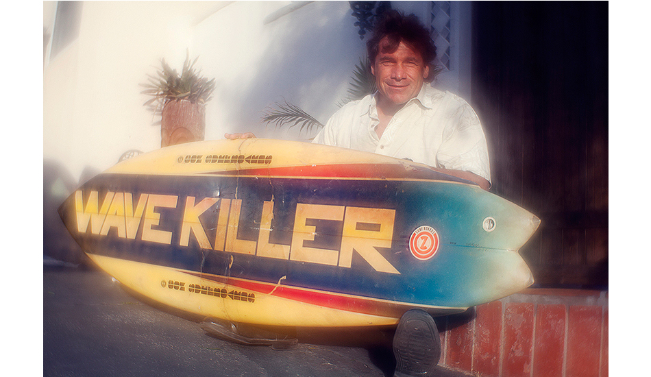 "WAVE KILLER. Allen Sarlo took a lot of heat in the 1970s for his aggressive slashing of waves – when soul styling and flow in black wetsuits on clear surfboards was the go. Dave Gilovich wrote a caption in Surfing Magazine along the lines of ""Allen Sarlo is the first surfer to kill a wave."" That line turned into a nickname – which all accomplished Malibu surfers must have – and in 1977, Bill Urbany shaped this double-wing swallow with an airbrush by Dana Wolf. Stacy Peralta knows his history and he argues what the surfing Sarlo was doing in the 1970s was ahead of its time, and is now the kind of surfing the world does. Photo: Lucia Griggi/Lensbaby."