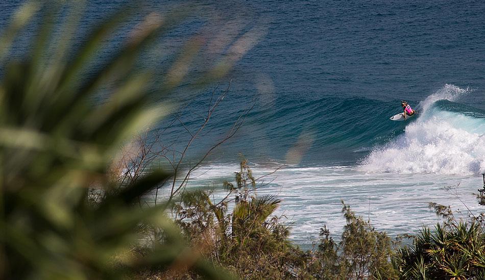 "Steph Gilmore trims off some speed. Photo: <a href=\""http://mattdunbar.com.au\"">Matt Dunbar</a>"