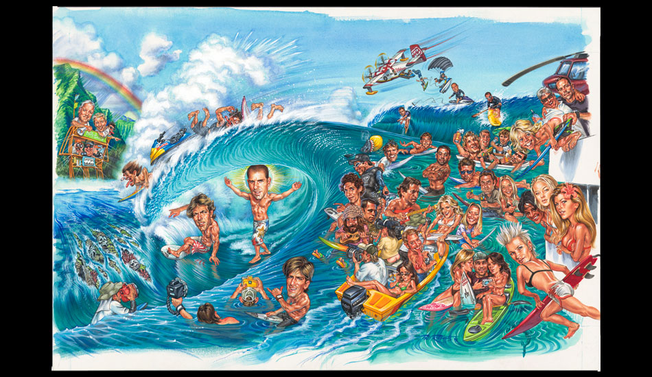 This is the more recent caricature piece I did for Chris Mauro at SURFER 25 years later (It almost made the cover). I ended up selling it to Kelly Slater. This actually became the inspiration for a series of posters for Billabong World Tour events in 2008. Andy Irons is pictured in a Teahupoo barrel in that painting – which is now very sadly a treasure.