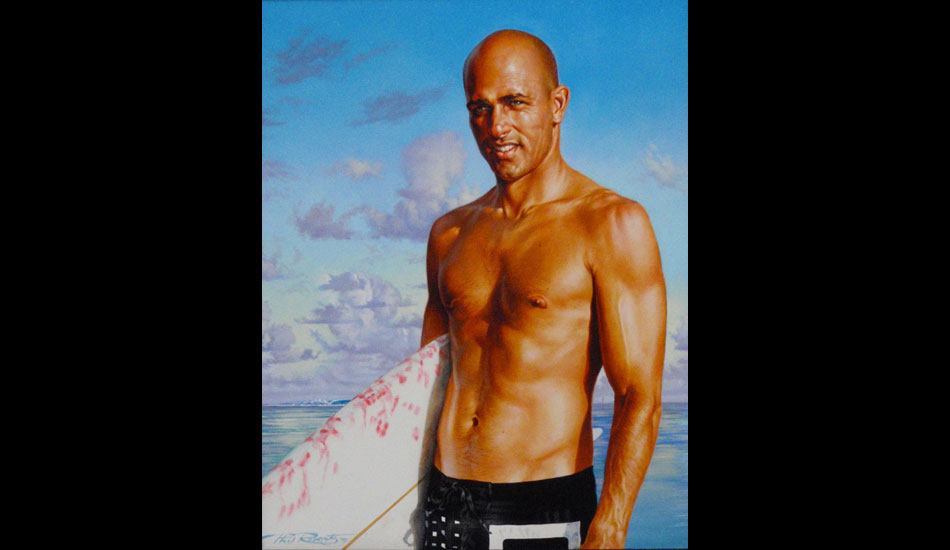 "This is an 11""x14\"" oil on panel portrait of Kelly Slater for the Ultimate Wave Tahiti. I had to give him nicer open eyes and take out the grimacing brow ridge in his forehead from the photograph I used to make him sexier for the poster."