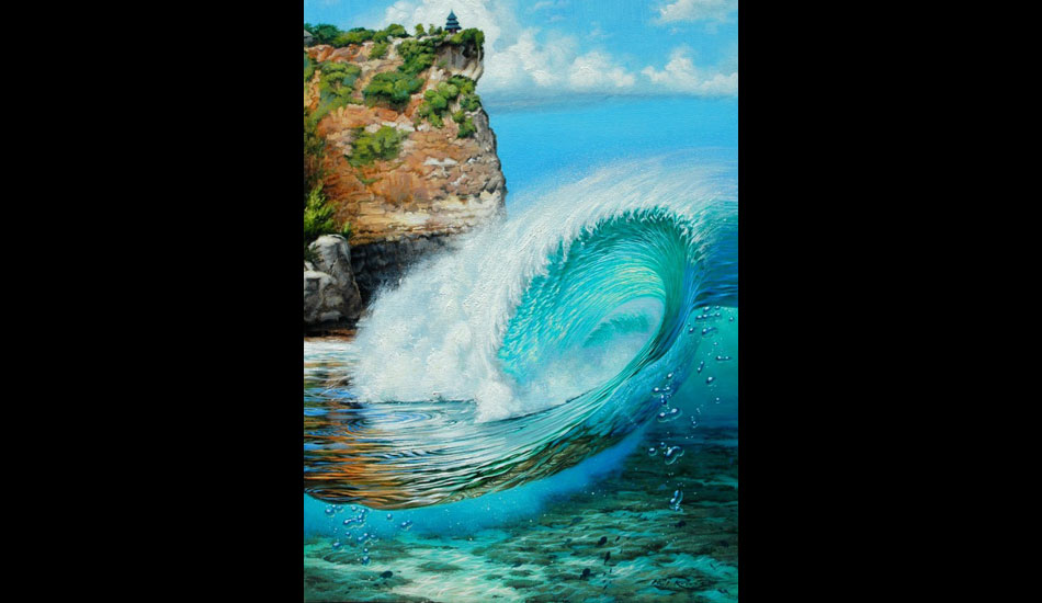 This painting of Uluwatu was featured in the fine art auction at Surfrider's 25th Anniversary fund raising event.