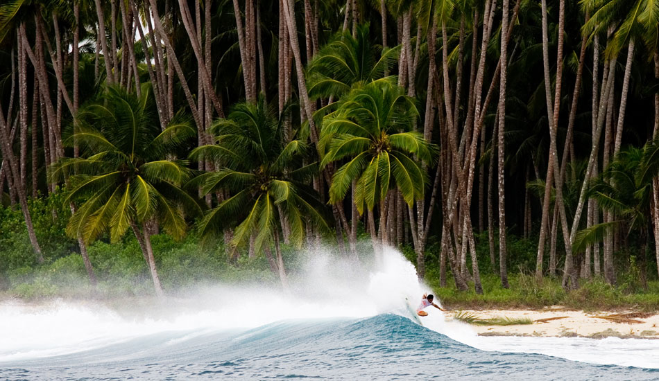 """Michel Bourez in Sumatra. Michel is pretty well-known for his power, but the guy has every air and fin-blow on lock as well.  Photo: <a href=\""""http://www.kevinvphotos.com\"""" target=_blank>KevinVPhotos.com</a>"""