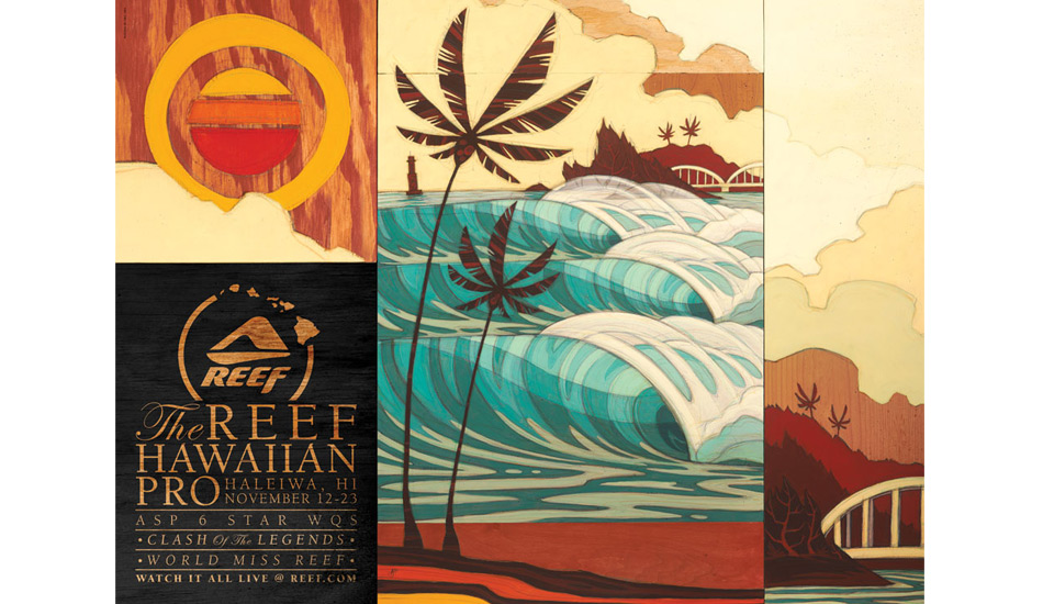 "Artwork for the 2011 Reef Hawaiian Pro at Haleiwa. Art: <a href=""http://www.abelarts.com\"" target=_blank>Erik Abel</a>"