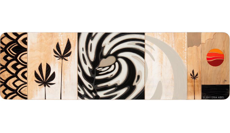 "\""Salty Sanity\"" 48\""x14\"", Acrylic and mixed media on wood. Art: <a href=\""http://www.abelarts.com\"" target=_blank>Erik Abel</a>"