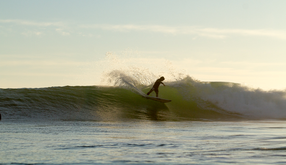 """Conner Coffin at Rincon. The lineup was mechanical perfection for days and gave plenty of time to set up and enjoy. After doing 15 turns on each wave Conner kept paddling out saying """"that was fun."""" Photo: <a href=\""""http://lowtiderising.com\"""">Aroyan/lowtiderising.com</a>"""