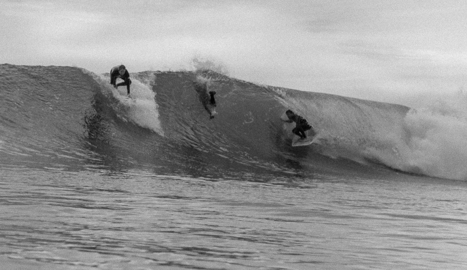 """Jimmy Gamboa at Rincon riding his trusty single fin 6""""8 Klaus Jones, having a flashback to surfing heavy Kirra for the first time while ducking under someone going past him over the falls. Photo: <a href=\""""http://lowtiderising.com\"""">Aroyan/lowtiderising.com</a>"""