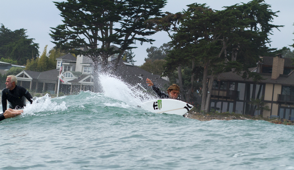 "Conner Coffin surfs so fast I had to guess where and when he would appear on this wave before he was gone to the next section and the next one after that. Photo: <a href=""http://lowtiderising.com\"">Aroyan/lowtiderising.com</a>"