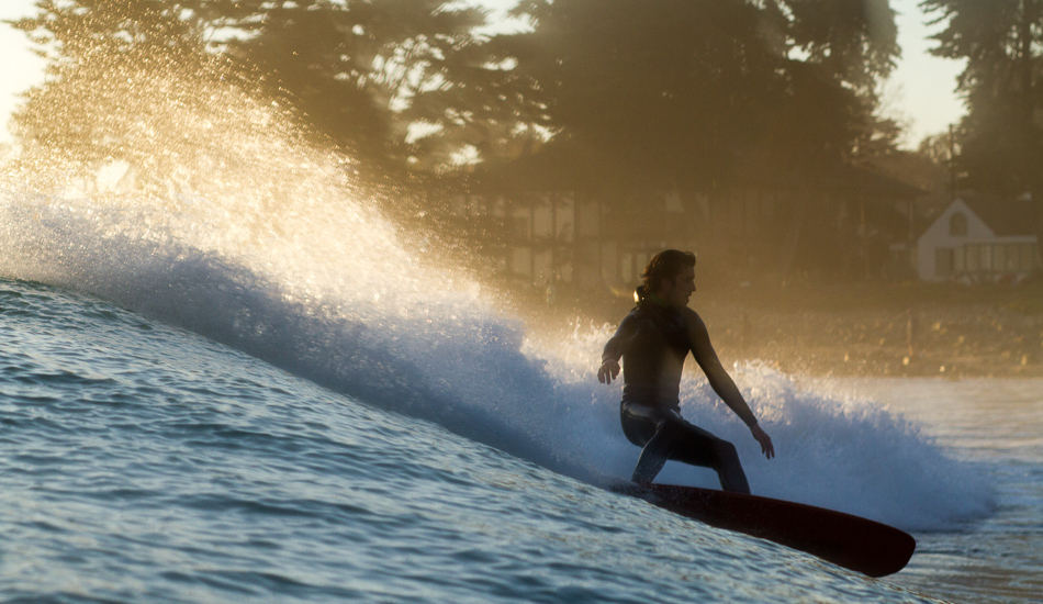 """Trevor Gordon surfs more than most people I know, and his casual style is much more precise and connected to the waves\' speed than the average bear. Photo: <a href=\""""http://lowtiderising.com\"""">Aroyan/lowtiderising.com</a>"""