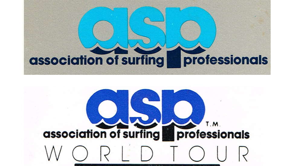 "1983-1989: The ASP was created in January 1983 by Ian Cairns as the definitive governing body of professional surfing. The top logo was the first ever. The bottom logo was the ASP\'s logo starting in 1984-1989 and OP was out as main sponsor in 1984. Images <a href=""www.aspworldtour.com\"">courtesy of the ASP</a>"