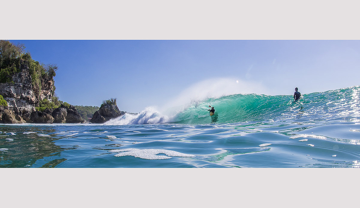 The next best thing to getting barreled is watching your friends get barreled. Photo: Austin Robertson