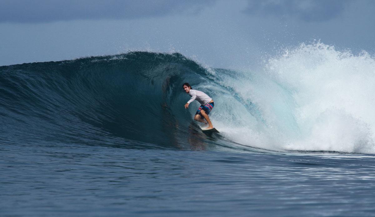"Bailey chasing the barrel. Photo: <a href=\""http://www.benbireau.com\""> Ben Bireau</a>"