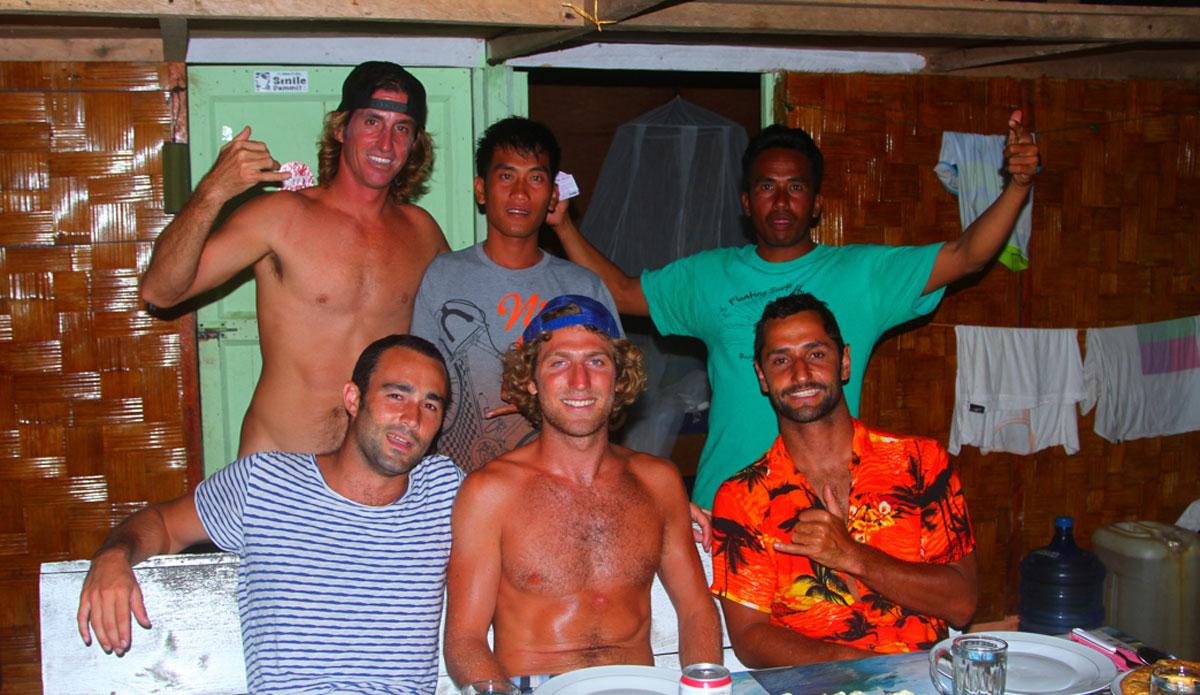 "The crew at the floating surf house. Photo: <a href=\""http://www.benbireau.com\""> Ben Bireau</a>"