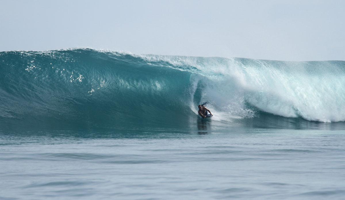 "When Gunters offers, barrels, Arthur takes his bodyboard. Photo: <a href=\""http://www.benbireau.com\""> Ben Bireau</a>"