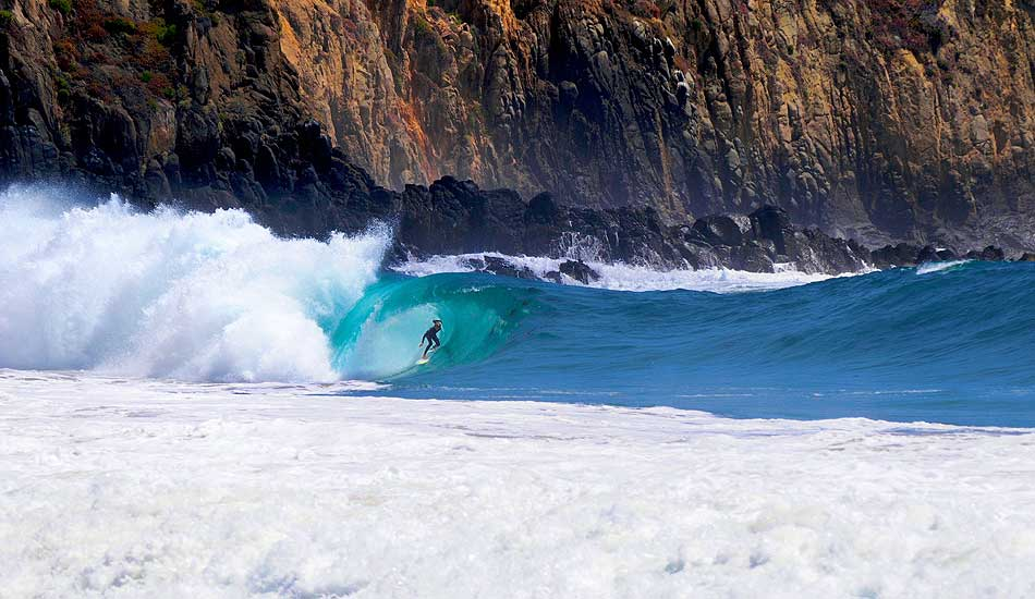 """Surfer Bobby Okvist deep in this incredibly hollow, squared off barrel in California. Photo: <a href=\""""http://driftwoodfoto.com/\"""">Ben Ginsberg</a>"""