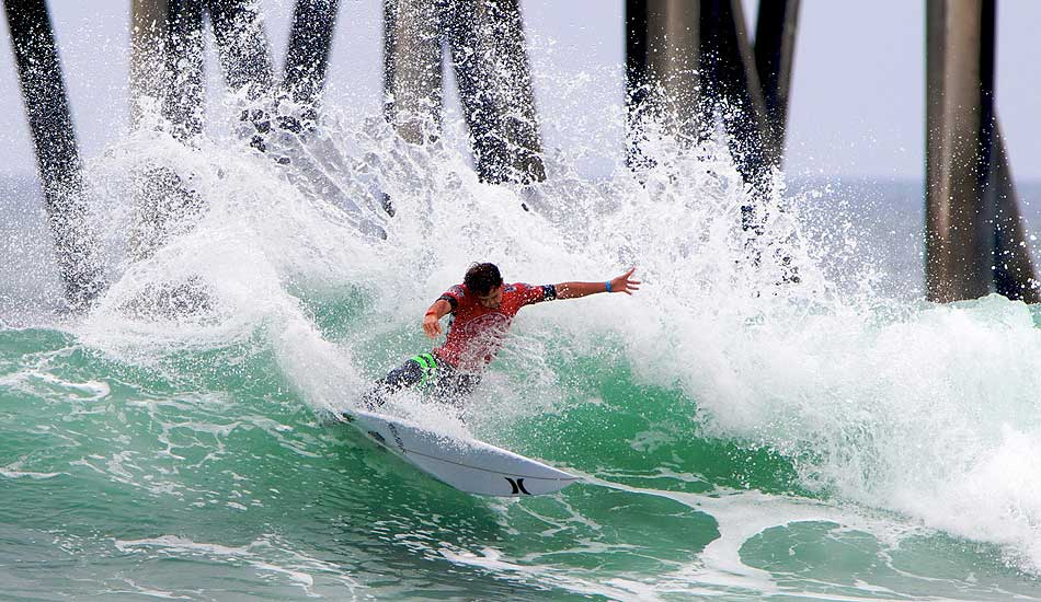 """Alejo Muniz just tearing apart this wave as he went on to win the 2013 US Open of Surfing. Photo: <a href=\""""http://driftwoodfoto.com/\"""">Ben Ginsberg</a>"""