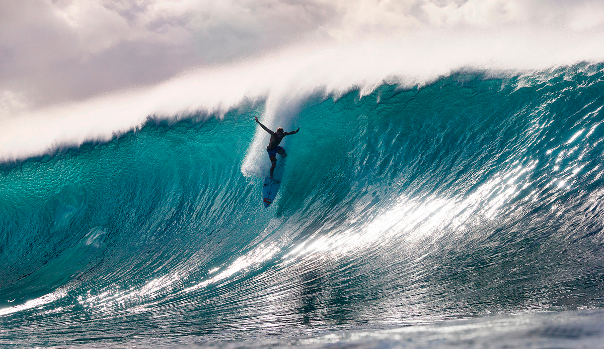 "Mark Healy takes a very late drop at Pipeline last winter. Photo: <a href=""http://www.brianbielmann.com\"">Brian Bielmann</a>"