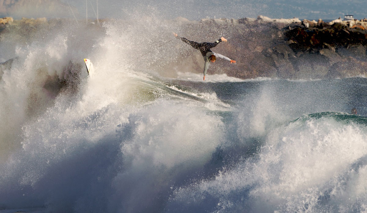 """Jamie O\'Brien came all the way from Hawaii to find out what Wedge is all about. Here he tries to find a safe way to exit out. Hint: there is none. Photo: <a href=\""""http://www.driftwoodfoto.com/\"""">Benjamin Ginsberg</a>"""