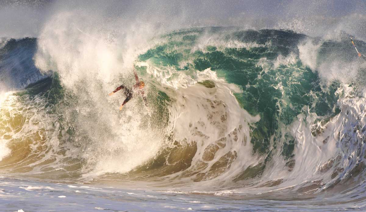 "This photo shares a more realistic version of Wedge... Local big wave charger Spencer Pirdy warms up for Maverick\'s by taking beatings like this at home. Photo: <a href=""http://www.driftwoodfoto.com/\"">Benjamin Ginsberg</a>"