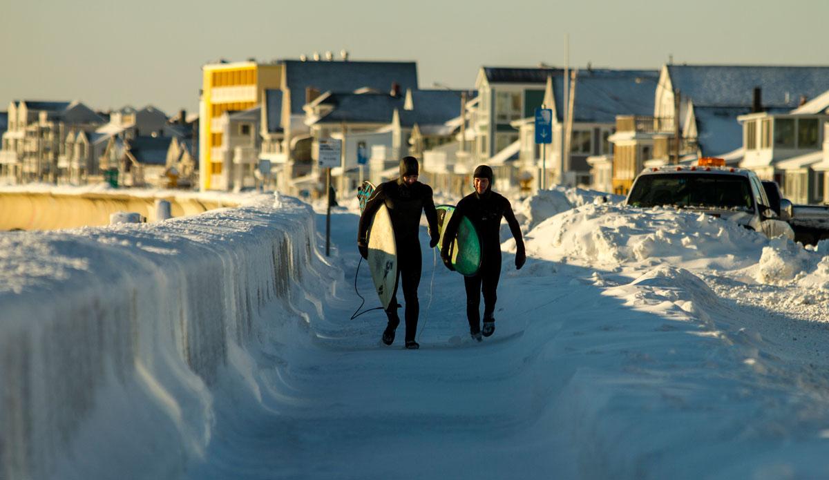 "Xavier Quinn and Jon Kiskinis on a frigid walk to the next break. Photo: <a href=\""http://www.bryannicholson.com/\"">Bryan Nicholson</a>"
