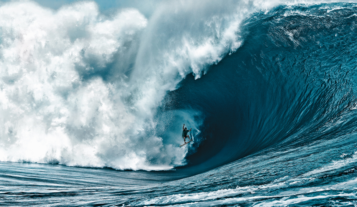 """Nathan Fletcher at Teahupoo in Tahiti on the code red swell. This is the craziest wave ever ridden by a human. Yes he survived. Photo: <a href=\""""http://www.brianbielmann.com\"""">Brian Bielmann</a>"""