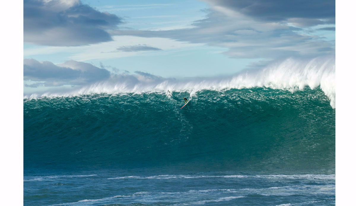 """In the following year when Jamie Mitchell and Shane Dorian came to France and try to paddle this big wave. Until today, this is the biggest wave that a surfer ever attempted to paddle into at Belharra. Seconds later after this photo was taken, he had the biggest wipe-out you could imagine. Photo: <a href=\""""https://instagram.com/alexlaurelphotographie\"""">Alex Laurel</a>"""