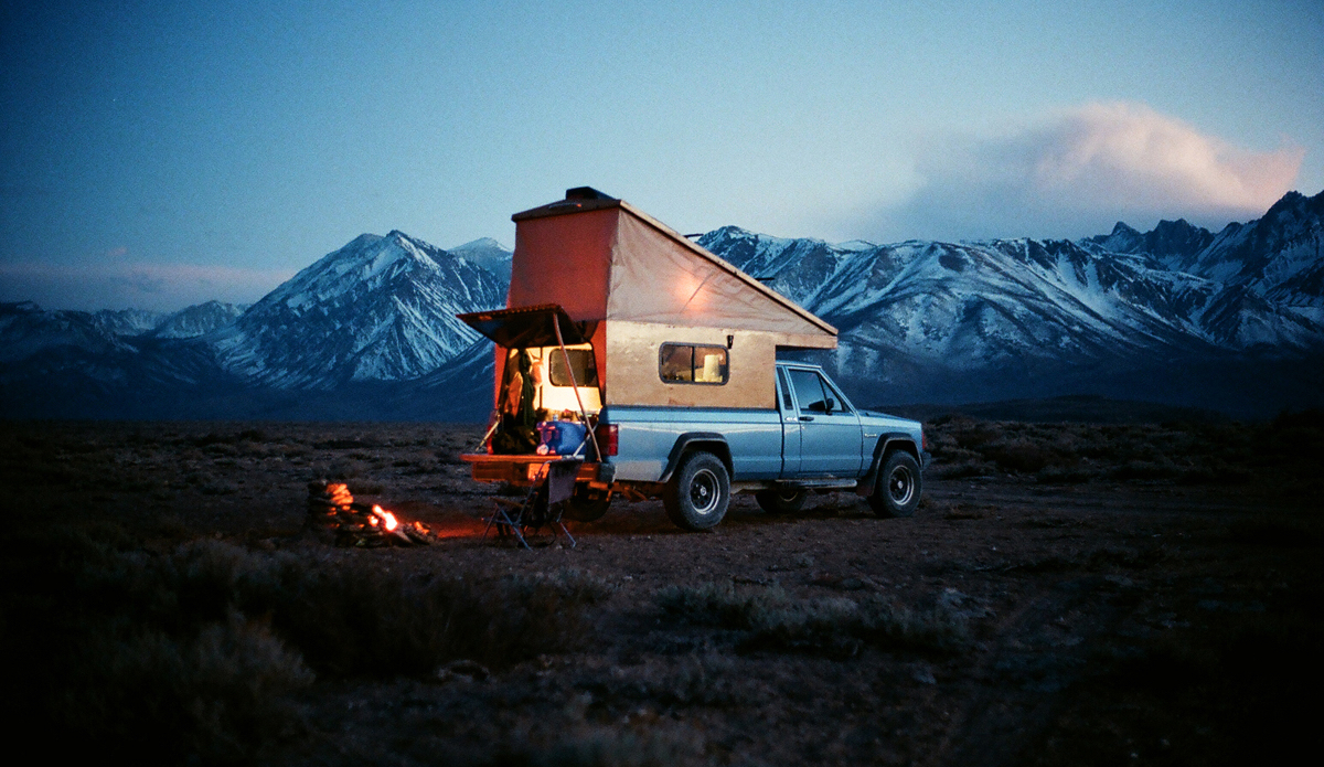 "A long exposure of my homemade camper and 1991 Jeep Comanche in the eastern sierras, 2014. Photo: <a href=""http://trevorgordonarts.com\"">TrevorGordonArts.com</a>"