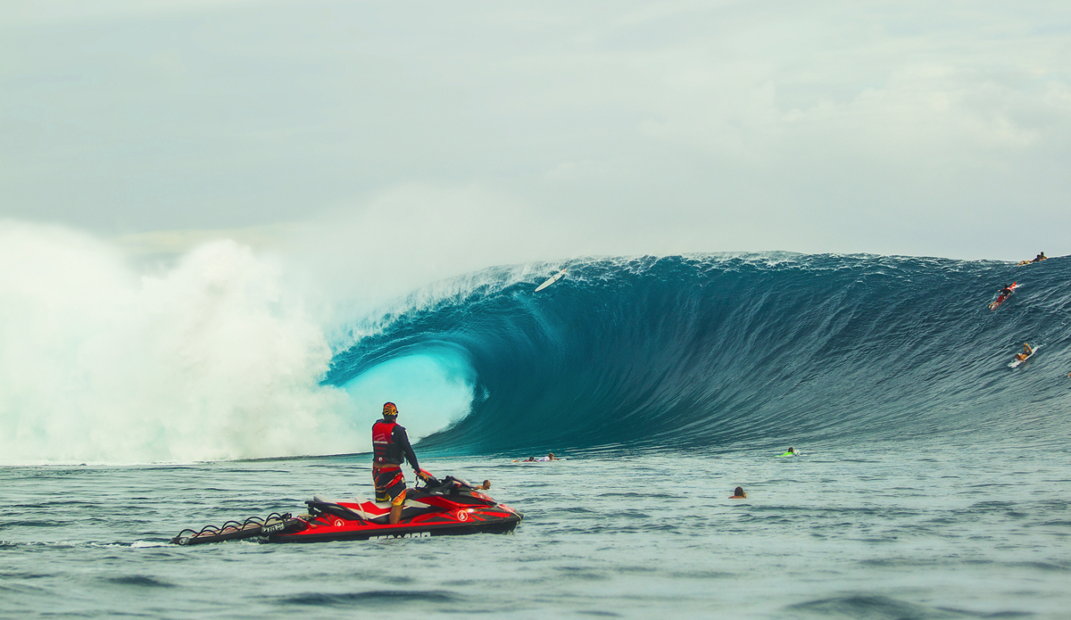 Fiji during the Volcom Pipe Pro, the most perfect day I have ever seen in my whole life and thats Mark Healey\'s board going over with Kaiborg moments from grabbing Mark. Photo: <a>BrianBielmann.com</a>
