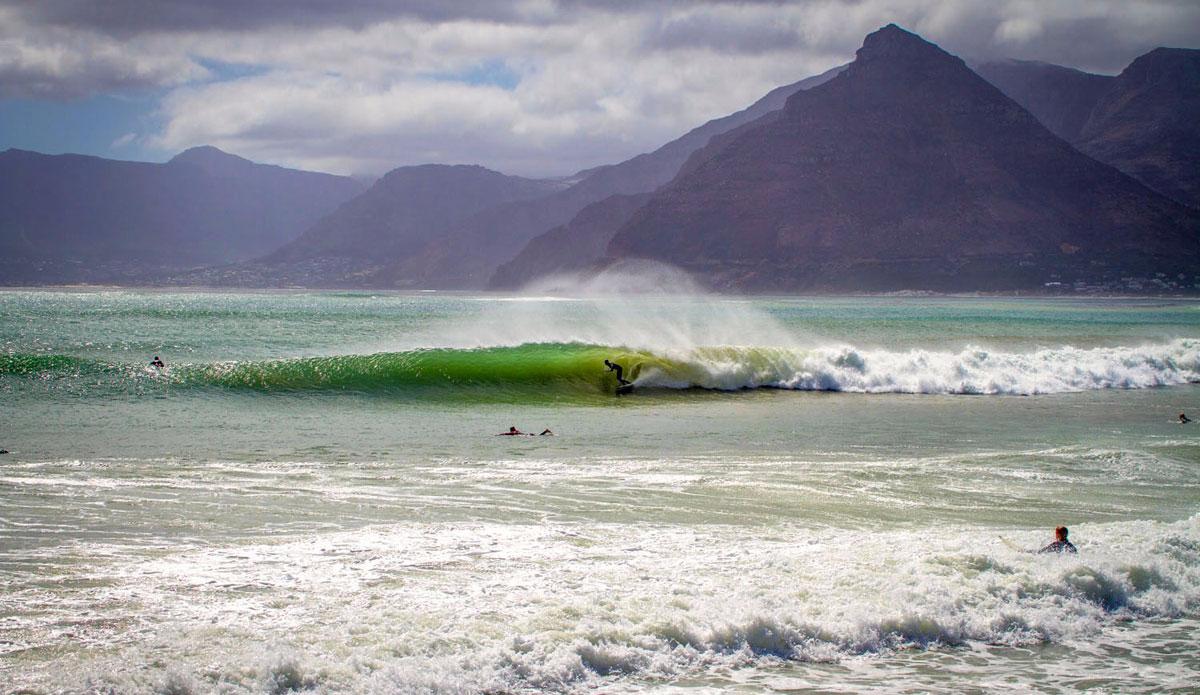 "Matt Bromley gliding into a long beach drainer. Photo: <a href=""http://craiglarsonimaging.com/"">Craig Larson</a>"