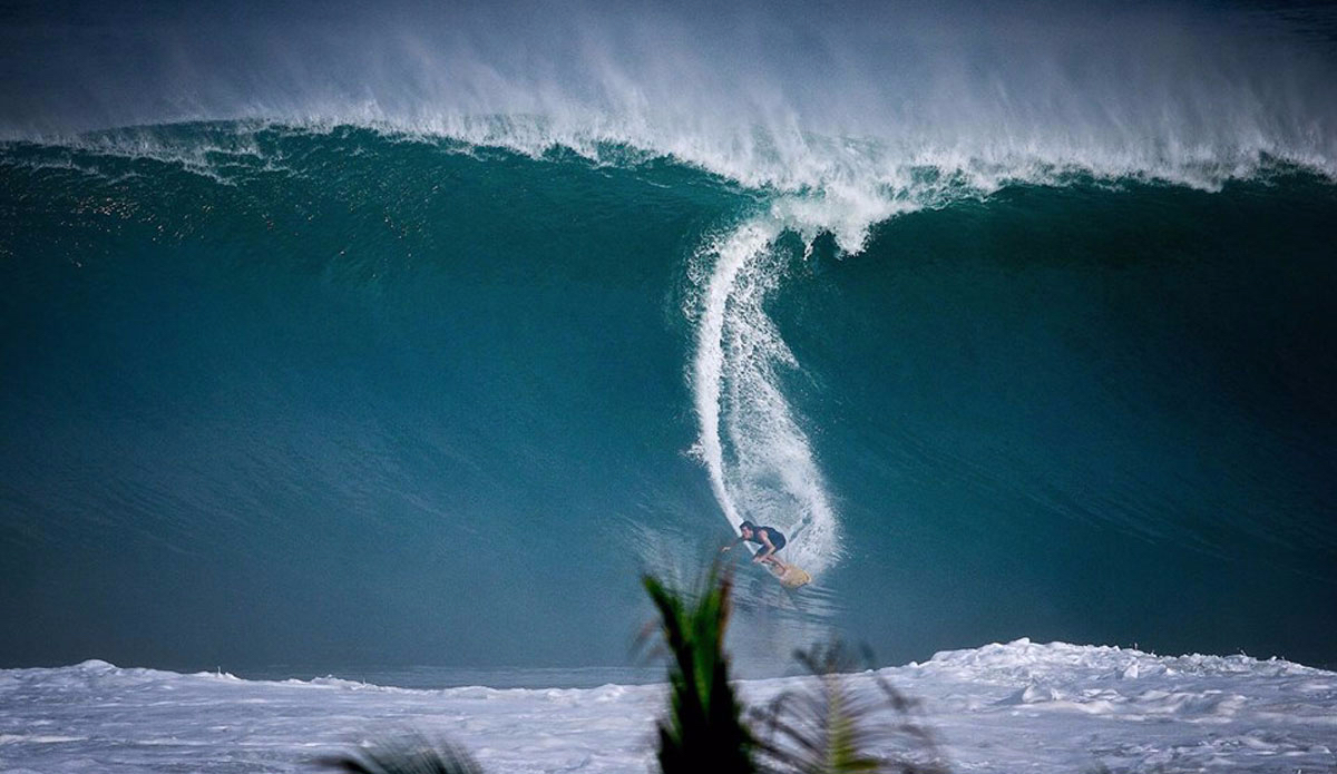 """Greg Long on a wave that is almost unfathomable. Photo: <a href=""""https://www.facebook.com/nosponsor"""" target=""""_blank"""">No Sponsor</a>"""