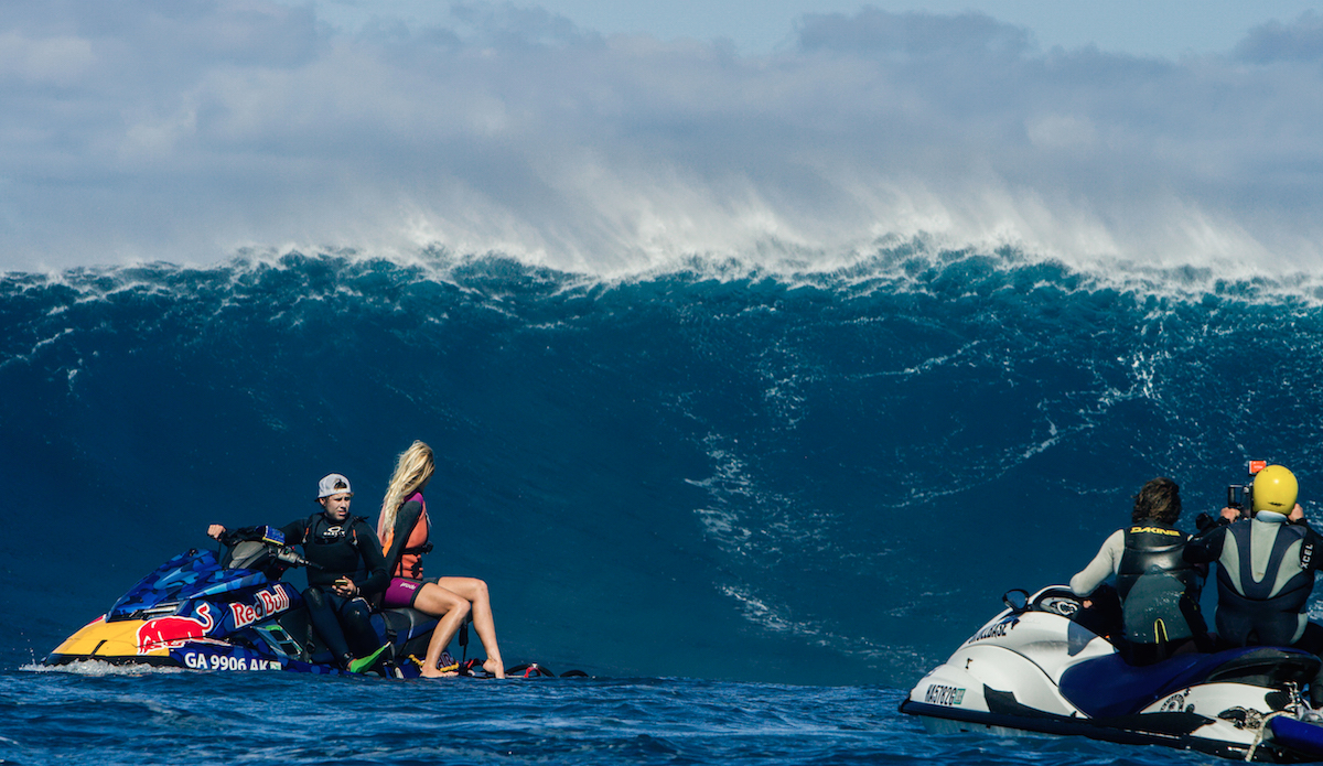 """Bethany Hamilton eyes down the lineup before towing in. Photo: <a href=\""""http://www.lieberfilms.com/\"""">Aaron Lieber</a>"""