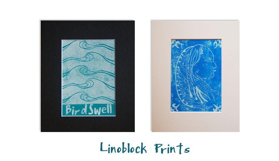 Lino Block Prints, Image: <a href= http://www.birdswell.com/ target=_blankBirdswell>BirdSwell</a>