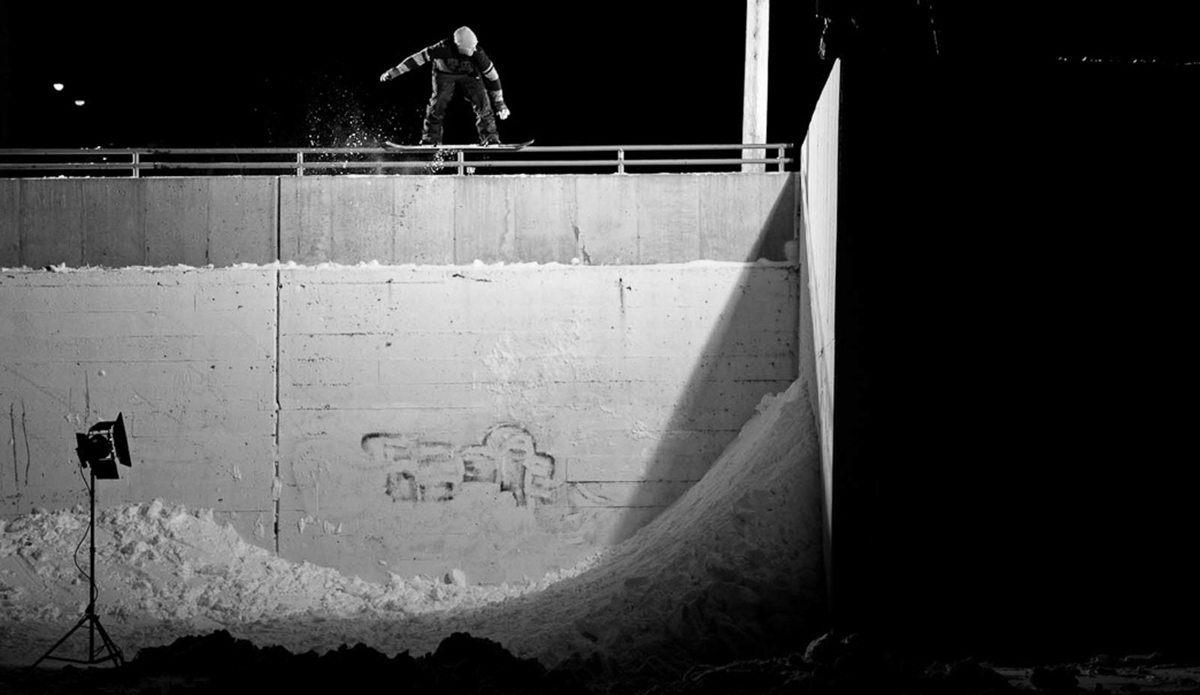 "Bringing it back to our all time favorite corner wall, Seth Huot locks in a '50-50 pop-over fakie wall ride redirect' in the middle of the night, furthering his efforts that season in building a solid X Games Real Street video part. Photo: <a href=""http://deanblottogray.com/\"">Blotto</a>"