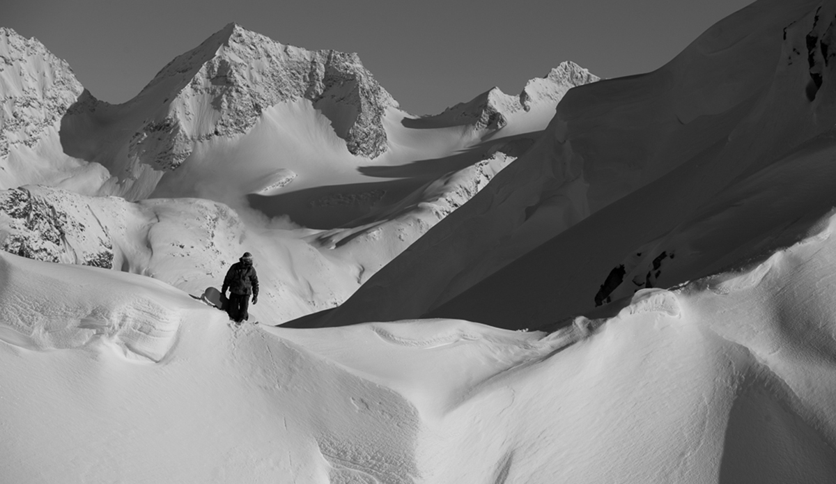 """Being a long time visitor to these mountains, Nicolas knows the snowpack and terrain well, but always double checks avalanche conditions before every descent. Photo: <a href=\""""http://deanblottogray.com/\"""">Blotto</a>"""