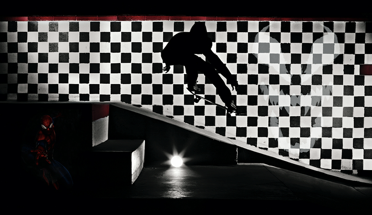 "\""Skate or Die\"" featuring Spiderman + Venom. Photo: Marvel x Bo Bridges"