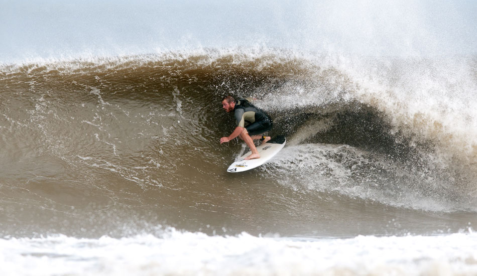 """Mike Gleason during Hurricane Irene in Monmouth County. Photo: <a href=\""""http://jerseyshoreimages.com/about.html\"""">Robert Siliato</a>"""