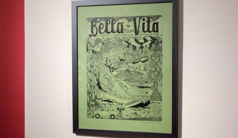 "Bella Vita poster, framed. Part of Chris del Moro\'s art show at a gallery across from the Arlington. Photo: <a href=\""http://lowtiderising.com/\"" target=_blank>Branden Aroyan/lowtiderising.com</a>"