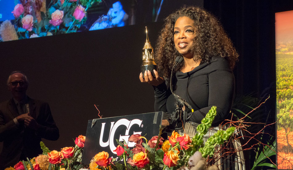 """Oprah feeling right at home in SB accepting the award and feeling very grateful for the life she is living. Photo: <a href=\""""http://lowtiderising.com/\"""" target=_blank>Branden Aroyan/lowtiderising.com</a>"""