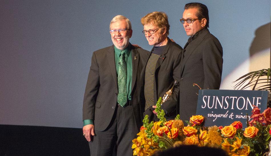 "Robert Redford receiving the American Riviera Award. Photo: <a href=\""http://lowtiderising.com/\"" target=_blank>Branden Aroyan/lowtiderising.com</a>"