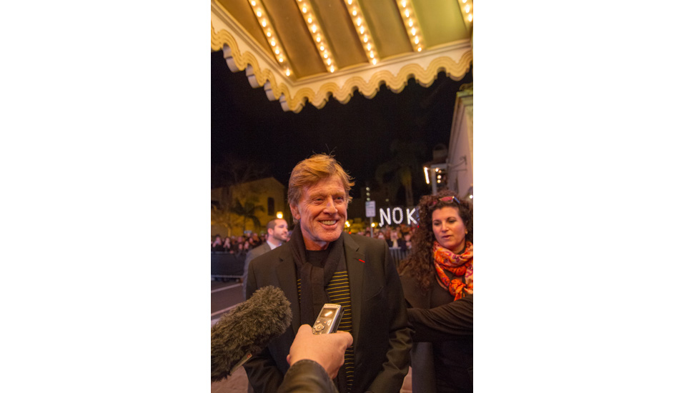 """Robert Redford on the red carpet, excited to be back in SB after surfing here and hiking throughout the local hills many years ago. Photo: <a href=\""""http://lowtiderising.com/\"""" target=_blank>Branden Aroyan/lowtiderising.com</a>"""