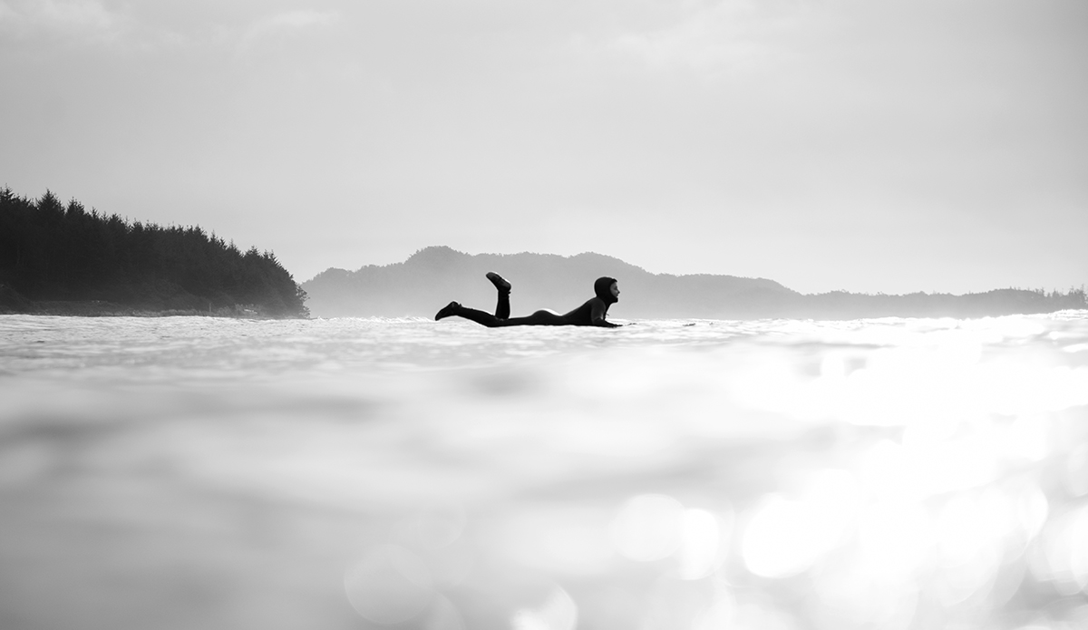 Lydia Ricard surfing in Tofino on January 30, 2017. (Bryanna Bradley)
