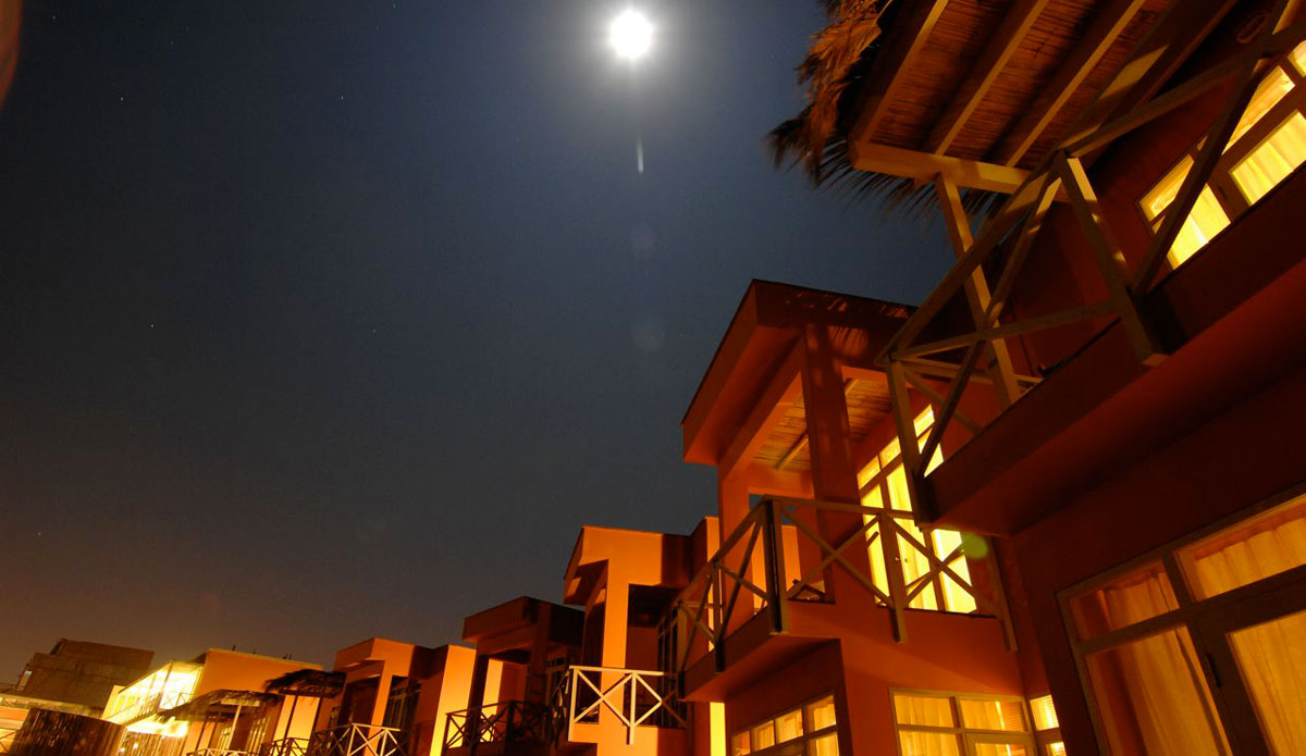 Night time at the Chicama Surf Resort.