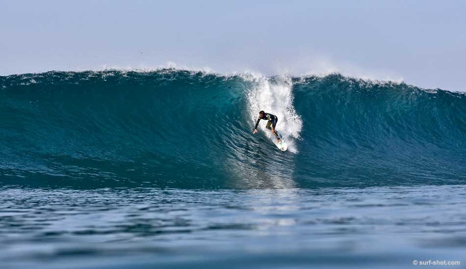 """Gabe Garcia. November 2009. A bomb set on a beautiful day with shifting peaks and crystal clear water.  Photo: Chuck Schmid/<a href=\""""http://surf-shot.com/\"""" target=\""""_blank\"""">Surf-Shot.com</a>"""
