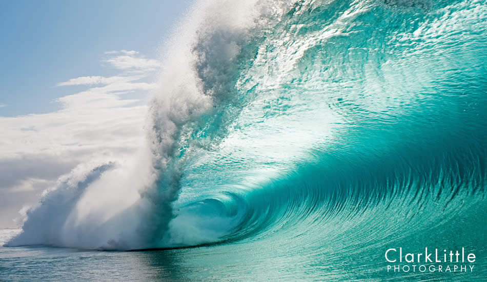 "People often mistake this wave for Pipe, which is about ¼ mile away. The colors are different since there is not reef below this wave. Photo: <a href=""http://ClarkLittlePhotography.com\"" target=_blank>Clark Little</a>."