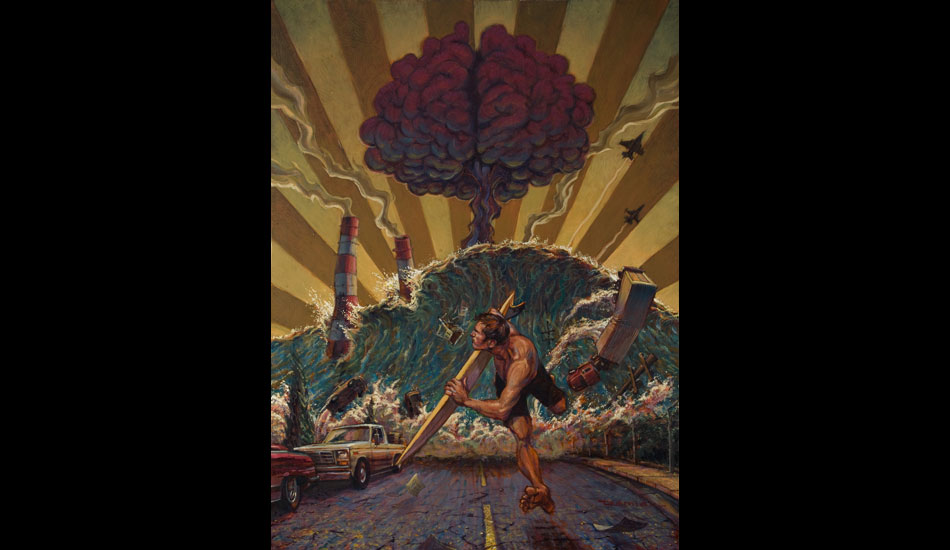 """Tomorrow will worry about itself: A smart atomic mushroom cloud? Don't know. But one thing's for sure; this guy has the right tool for survival. <a href=\""""http://www.damianfultonart.com/\"""">Damian Fulton</a>"""