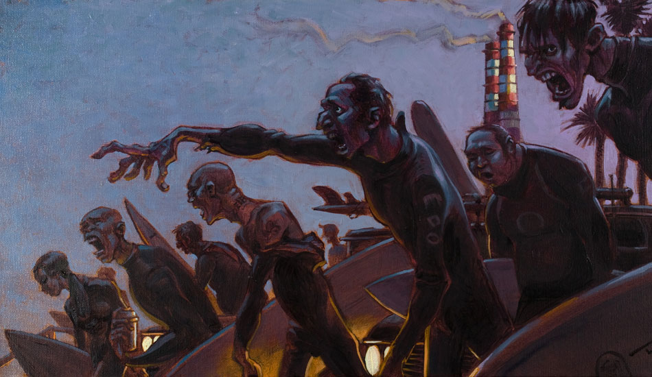 """Dawn patrol: At first glance this painting looks like a pack of hungry zombies, but in truth it's just a bunch of locals shaking out the cobwebs before the daily surf. <a href=\""""http://www.damianfultonart.com/\"""">Damian Fulton</a>"""